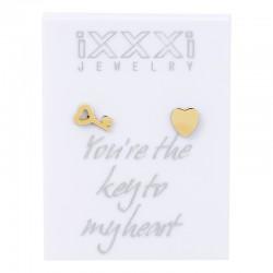 Kolczyki kluczyk + serce złote