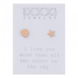 Kolczyki serce + gwiazdka różowe złoto