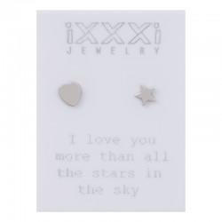 Kolczyki serce + gwiazdka srebre