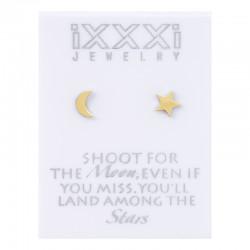 Kolczyki księżyc + gwiazdka złote