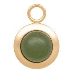 Zawieszka mała matowy oliwkowy złota
