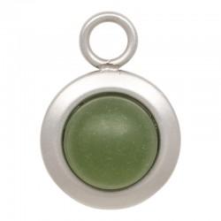 Zawieszka mała matowy oliwkowy srebrna