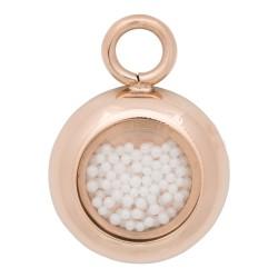 Zawieszka mała białe kulki różowe złoto