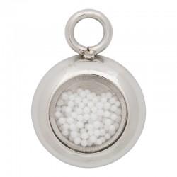Zawieszka mała białe kulki srebrna