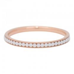 Ring cyrkonia biała 2 mm różowe złoto