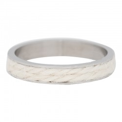 Ring biały sznurek srebrny