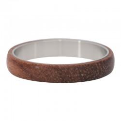 Ring drewno ciemne srebrny