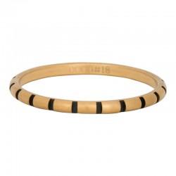 Ring paski 2 mm mat złoty/czarny
