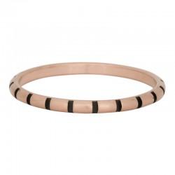 Ring paski 2 mm mat różowe złoto/czarny