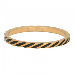 Ring ukośne paski 2 mm mat złoty/czarny