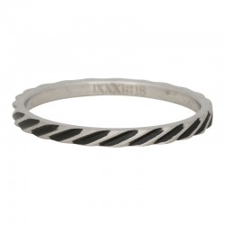 Ring ukośne paski 2 mm mat srebrny/czarny