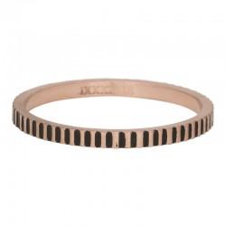 Ring kartele 2 mm mat różowe złoto/czarny