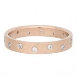 Ring 14 oczek cyrkonia 4 mm mat różowe złoto
