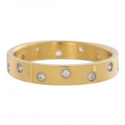 Ring 14 oczek cyrkonia 4 mm złoty