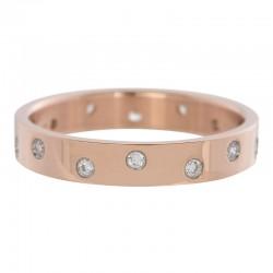 Ring 14 oczek cyrkonia 4 mm różowe złoto