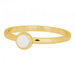 Ring mały biały kamień 2 mm złoty