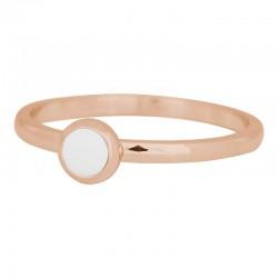 Ring biały kamień 2 mm różowe złoto