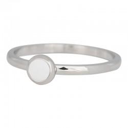 Ring biały kamień 2 mm srebrny