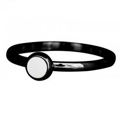 Ring biały kamień 2 mm czarny