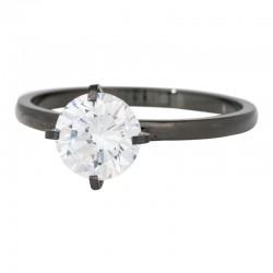 Ring kamień Glamour wysoki 2 mm czarny
