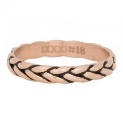 Ring kłos różowe złoto/czarny