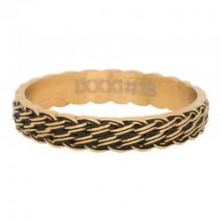 Ring przeplatany złoty/czarny