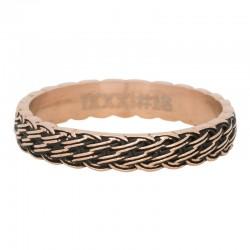 Ring przeplatany różowe złoto/czarny