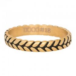Ring liść złoty/czarny