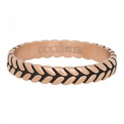 Ring liść różowe złoto/czarny