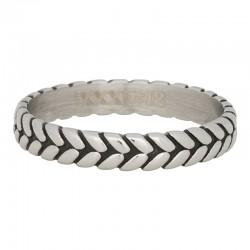 Ring liść srebrny/czarny