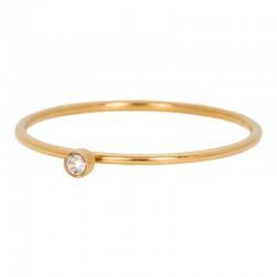Ring cyrkonia 1 mm kryształ złoty
