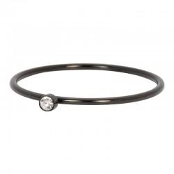 Ring cyrkonia 1 mm kryształ czarny