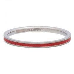 Ring czerwona linia 2 mm srebrny