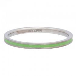 Ring zielona linia 2 mm srebrny