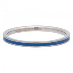 Ring niebieska linia 2 mm srebrny