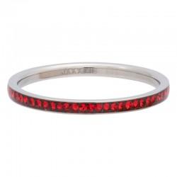Ring cyrkonia czerwona 2 mm srebrny