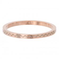 Ring łamana linia 2 mm różowe złoto