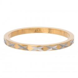Ring wzór X 2 mm złoty