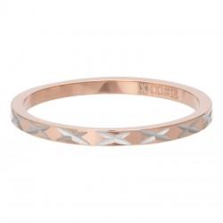 Ring wzór X 2 mm różowe złoto