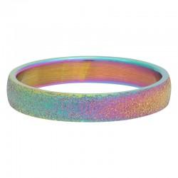 Ring piaskowany 4 mm tęczowy