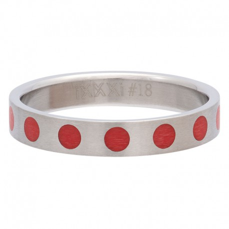 Ring kółka czerwone 4 mm srebrny