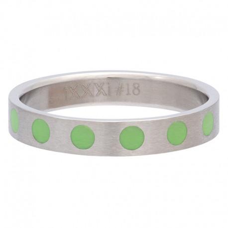 Ring kółka zielone 4 mm srebrny