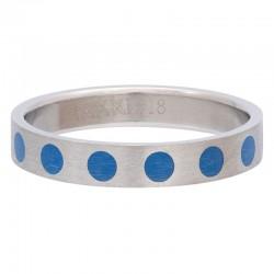 Ring kółka niebieskie 4 mm srebrny
