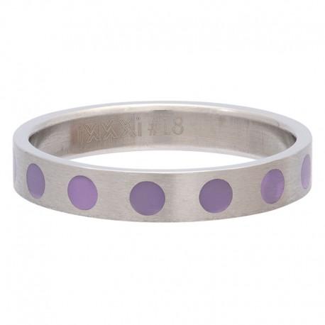 Ring kółka fioletowe 4 mm srebrny