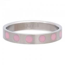 Ring kółka różowe 4 mm srebrny