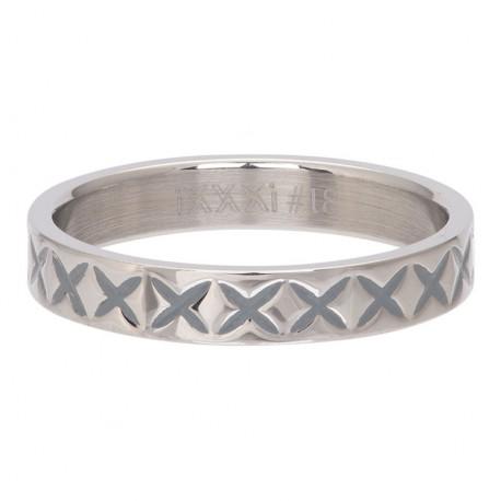 Ring wzór X 4 mm srebrny