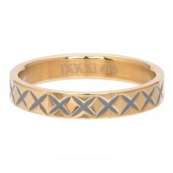 Ring wzór X 4 mm złoty