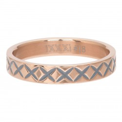 Ring wzór X 4 mm różowe złoto
