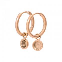 Kolczyki wiszące kółka - baza 15 mm różowe złoto
