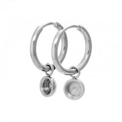 Kolczyki wiszące kółka - baza 15 mm srebrne